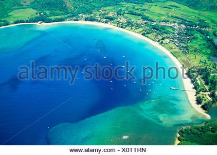 Hawaii, Kauai, Aerial Of Hanalei Bay, Boats In Ocean - Stock Photo