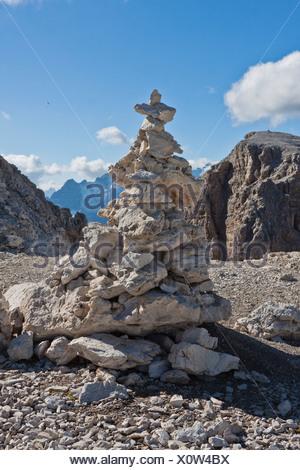 Cairn, Sass Pordoi Mountain, 2925 m, Sella Group, Dolomites, Italy, Europe - Stock Photo