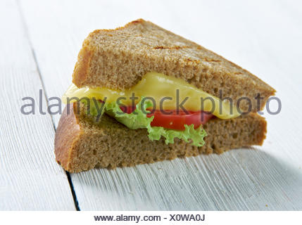 Cheese and tomato sandwich - Stock Photo