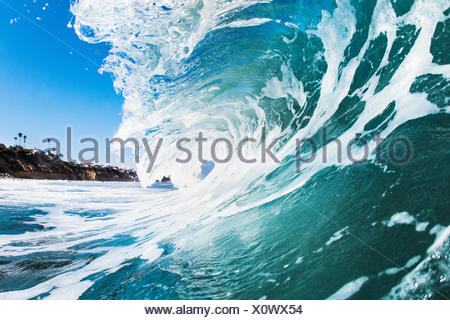Close up of rolling wave and foamy sea - Stock Photo