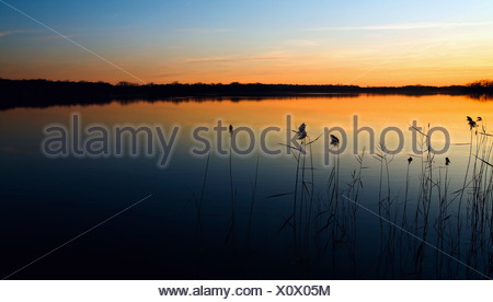 Willmar, Minnesota, United States Of America; Sunset Over A Lake - Stock Photo