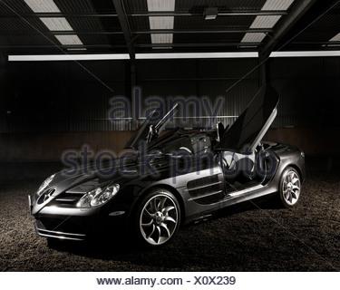 Mercedes -Benz SLR McLaren with open gullwing doors - Stock Photo