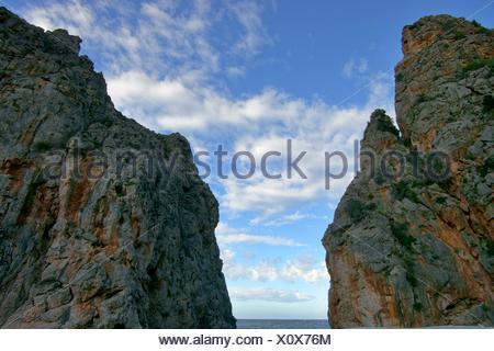 Torrent de Pareis, Sa Calobra Escorca Mallorca Balearic Islands Spain - Stock Photo