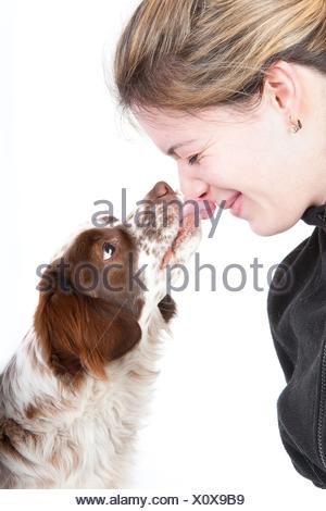 woman and mongrel - Stock Photo