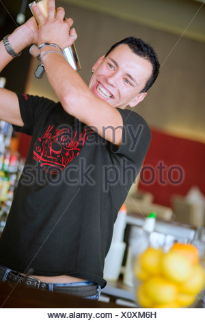 barkeeper mixing a cocktail with a shaker - Stock Photo