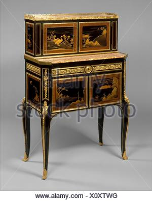 Desk (bonheur du jour). Maker: Claude-Charles Saunier (French, 1735-1807); Date: ca. 1765-75; Culture: French; Medium: Oak, veneered with ebony, - Stock Photo