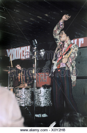 Hendrix, James,'Jimi', 27.11.1942 - 18.9.1970, US Musician, with Noel Redding, Mitch Mitchel, band, 'The Jimi Hendrix Experience', during concert, Big Apple Club, Munich, 9.11.1966, , Additional-Rights-Clearances-NA - Stock Photo