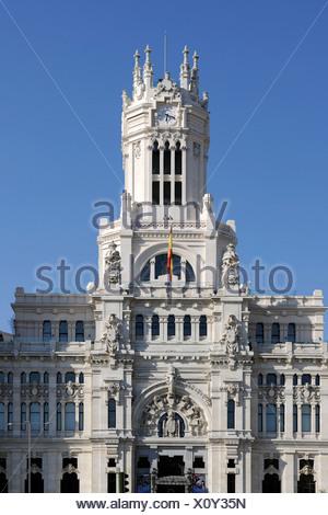 Palacio Nuestra Señora de Correos or Palacio de Comunicaciones, post office, Madrid, Spain, Europe, PublicGround - Stock Photo