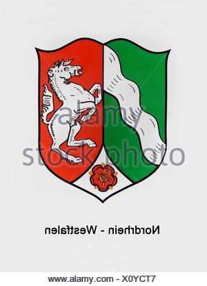 Coat of arms of North Rhine-Westphalia - Stock Photo