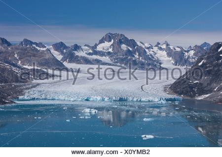 Sermiligaaq, view, Knut Rasmussen, Rasmussen, Greenland, East Greenland, glacier, ice, moraine, - Stock Photo