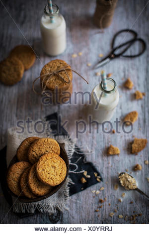 Sweet and crunchy coconut cookies with a nubby texture and a and lingering buttery flavor. - Stock Photo