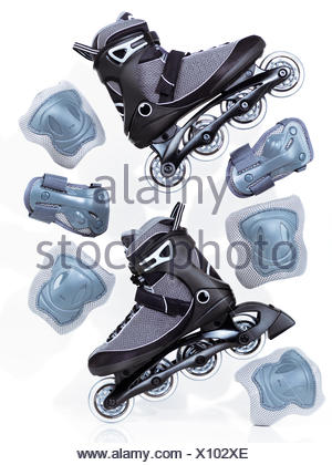 Inline Skates Rollerblades And Protective Gear Stock Photo Alamy