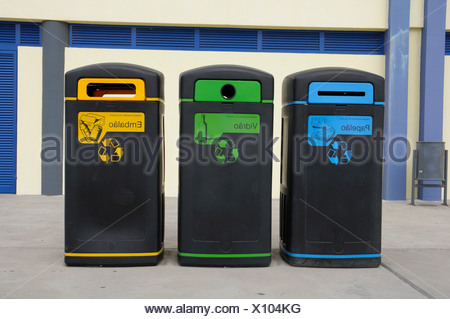 Rubbish bins, garbage cans, Madeira, Portugal - Stock Photo