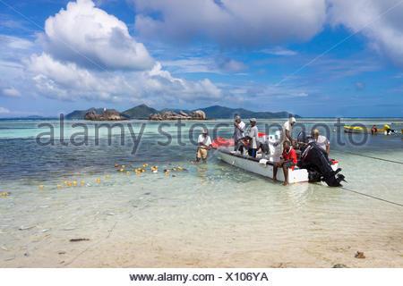 Fishermen loading their freshly caught fish on the beach, Praslin, Seychelles - Stock Photo
