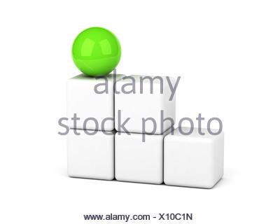 bright green sphere leadership concept - Stock Photo