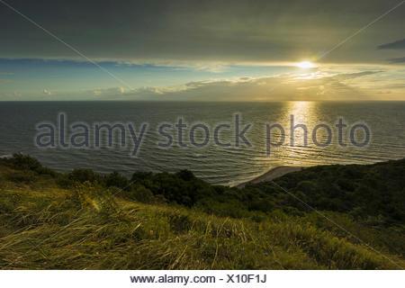 Baltic Sea in sunset, Germany, Mecklenburg-Western Pomerania, Baltic Sea, Hiddensee - Stock Photo