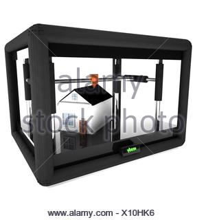 3d printer printing an entire house - Stock Photo