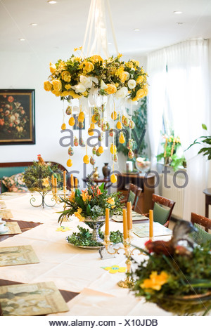 ... Mainz, The Easter Decorations In The Dining Room Of The Nursing Home    Stock Photo