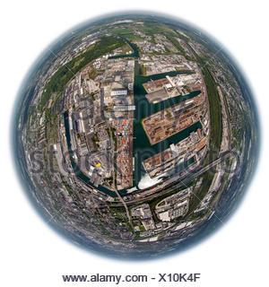 Aerial view, fisheye, Dortmund port with container terminal, Dortmund, Ruhr district, North Rhine-Westphalia, Germany - Stock Photo