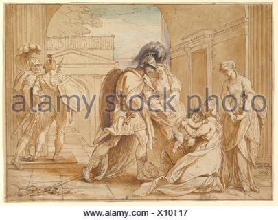 Hector taking leave of Andromache: the Fright of Astyanax. Artist: Benjamin West (American, Swarthmore, Pennsylvania 1738-1820 London); Date: 1766; - Stock Photo