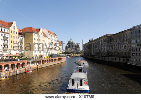 Excursion boats on the Spree river, in the back the Berliner Dom cathedral, federal capital Berlin, Germany, Europe - Stock Photo