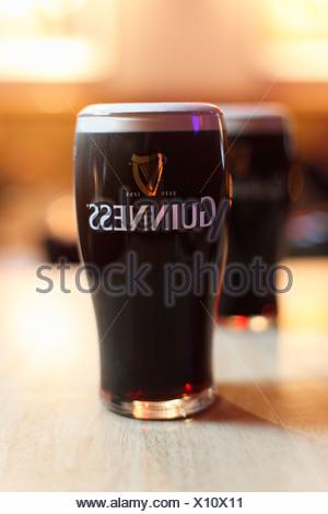 Pint of Guinness Stout beer, Ireland, British Isles, Europe - Stock Photo