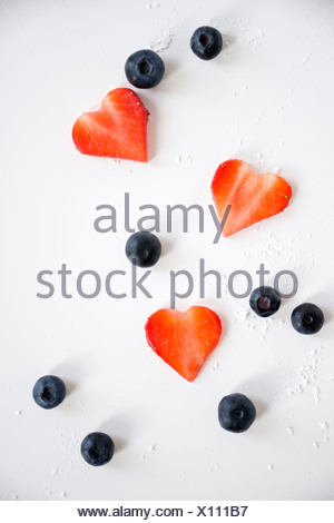 Heart Shaped Strawberries and Blackberries, Munich, Bavaria, Germany, Europe