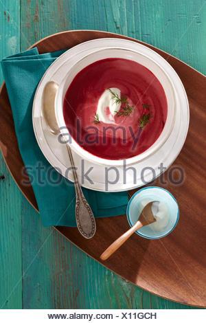 Beet root cream soup - Stock Photo