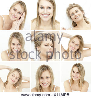 Collage of attractive blonde woman - Stock Photo