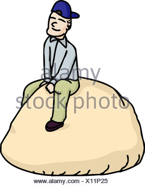 Cartoon of smiling man on a roll - Stock Photo