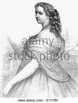 Eugenie, 5.5.1826 - 11.7.1920, Empress Consort of France 30.1.1853 - 4.9.1870, half length, steel engraving by Metzger, 1853,  , Artist's Copyright has not to be cleared