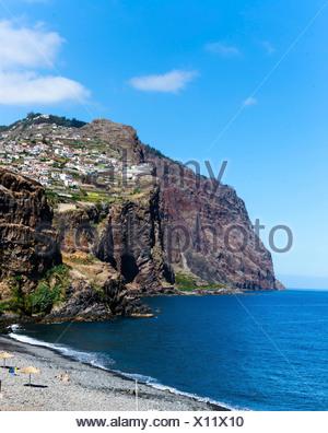 Cliff coast of Porto de Câmara de Lobos, Funchal, Porto de Camara de Lobos, Ilha da Madeira, Portugal - Stock Photo