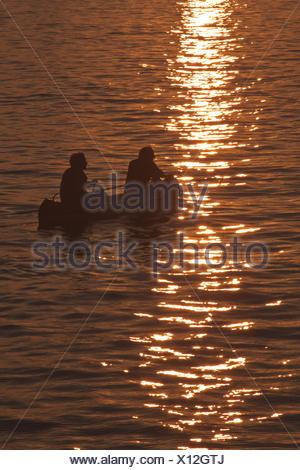 Berlin, sunset on the river Spree - Stock Photo