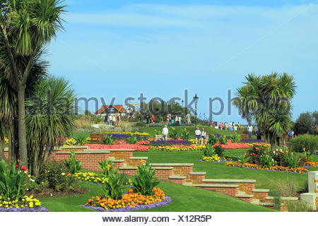 Esplanade Gardens, Cliff top, Marine Parade,  Hunstanton, Norfolk, England, UK, seaside resort - Stock Photo