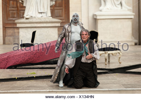 Jedermann, Everyman, 2009, played by Peter Simonischek with Ben Becker as Death, play by Hugo von Hofmannsthal, Salzburg Festiv - Stock Photo
