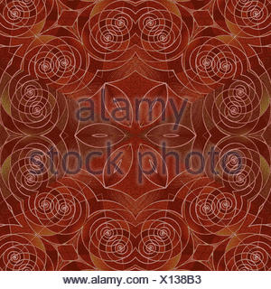 Abstract geometric seamless background. Ornate and delicate floral pattern with spiral elements in red brown shades. Antique wood paneling, marquetry. - Stock Photo