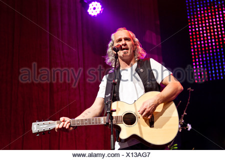 Hannes Hintersteiner of the Austrian pop and folk music group 'Schuerzenjaeger' performing live at the Schlager Nacht 2012 - Stock Photo