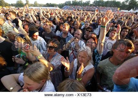 Spectators at the Open Air Festival, Muehldorf am Inn, Bavaria, Germany - Stock Photo