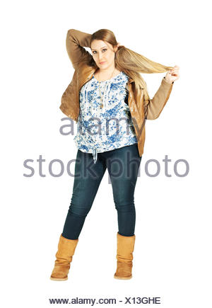 sweet overweight woman hair - Stock Photo