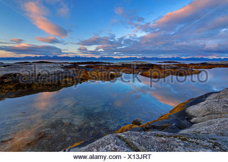 Europe, Norway, Nordnorwegen, province northern country, local authority district Hamaroy, place Tranoy, morning mood on Tranoy, in the background of the Vestfjord and the Lofotenkette - Stock Photo