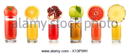 Set of tropical fruit juices in glasses isolated - Stock Photo