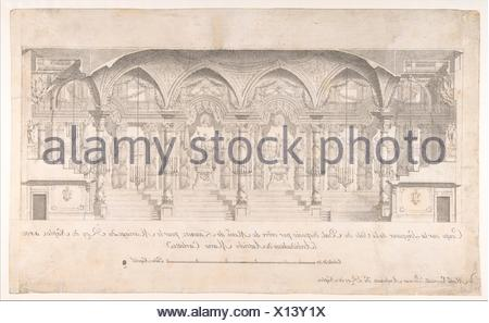 Longitudinal Section of a Ballroom Decorated for the Marriage of the King of Naples to the Archduchess of Austria. Artist: Luigi Vanvitelli (Italian, - Stock Photo