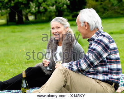 Older couple drinking wine at picnic - Stock Photo
