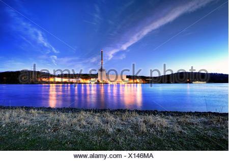 nuclear power station Kruemmel at sunset, Germany, Schleswig-Holstein - Stock Photo