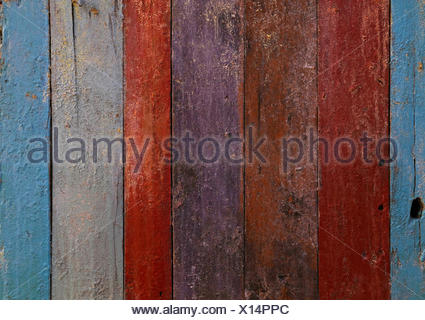 Multicolor painted old grunge wooden planks - Stock Photo