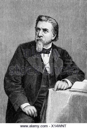 Gutzkow, Karl Ferdinand, 17.3.1811 - 16.12.1878, German author / writer, publisher, half length, wood engraving after etching by D. Raab, Additional-Rights-Clearances-NA - Stock Photo