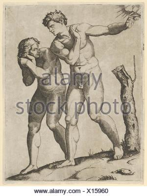 Adam and Eve being expelled from paradise. Artist: Marcantonio Raimondi (Italian, Argini (?) ca. 1480-before 1534 Bologna (?)); Artist: After - Stock Photo