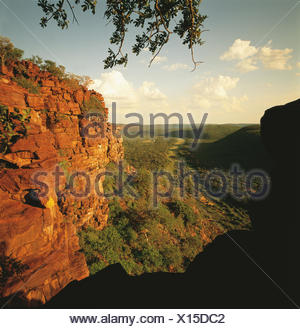 Rocky outcrop overlooking Mogol River in valley, Limpopo, South Africa, Africa - Stock Photo