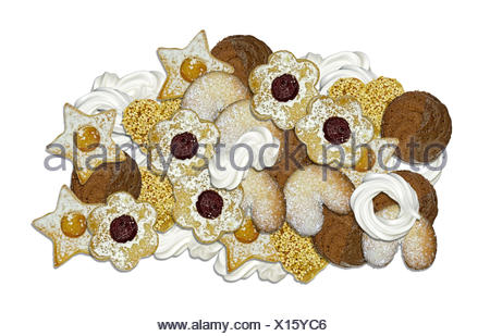homemade biscuits and meringue for christmas - Stock Photo