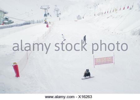 Three men snowboarding, Sierra Nevada, Granada, Spain - Stock Photo